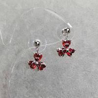 """Серьги """"Клевер"""" с красными кристаллами 17х12 мм"""