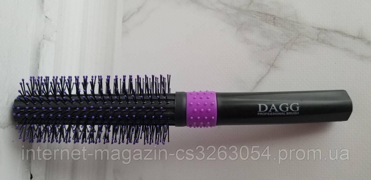 Расческа для укладки волос скелетная DAGG фиолетовая круглая