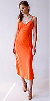 Женское летнее платье-комбинация ярко оранжевого цвета