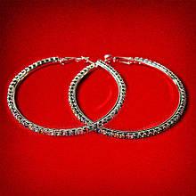 Серьги-кольца итальянский замок с разноцветными стразами большого размера светлый металл d-65мм