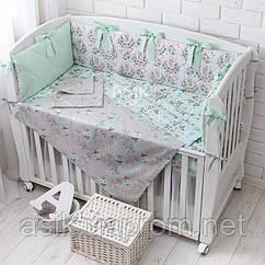 Детская постель «Косули и розы» с бортиками на 3 стороны, пододеяльником, наволочкой, простынью, №377