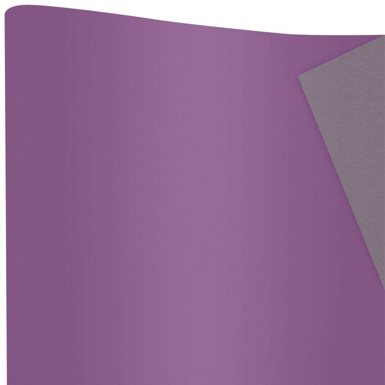 Бумага упаковочная Сплошная фиолетовый и серый 70 см х 10 м