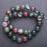 Бусины из натурального камня Яшма разноцветная гладкий шарик d-12+-мм нитка L-38+-см