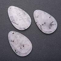 "Кулон из натурального камня Кварц ""волосатик"" капля 55х35мм(+-)"