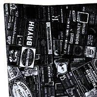 Бумага флористическая Газета - реклама белая на черном