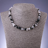 Бусы натуральный камень Кварц Волосатик крошка d-8мм L-45-50см с удлинительной цепочкой