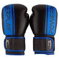 Боксерські рукавиці PowerPlay 3022 Чорно-Сині [натуральна шкіра] 10 унцій, фото 1