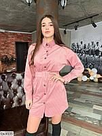 Вельветовое женское короткое  платье-рубашка с поясом арт 138