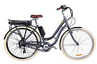 """Электровелосипед 28"""" CORAL трещ., 500Вт 36В редуктор. задн.привод, 17.5Ач LG M3500 с крепл. к багажн., дисплей, макс.пробег 70км, 40 км/ч (серый)"""