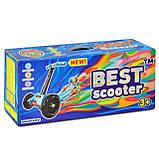 Трехколесный самокат со светящимися колесами расцветка комикс Best Scooter Mini, фото 2