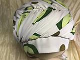 Летняя белая бандана-шапка-косынка хлопковая с широкой драпировкой, фото 2