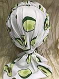 Летняя белая бандана-шапка-косынка хлопковая с широкой драпировкой, фото 4