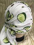 Летняя белая бандана-шапка-косынка хлопковая с широкой драпировкой, фото 3