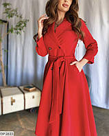 Красивое расклешенное платье на запах на пуговицах с поясом  арт 1051