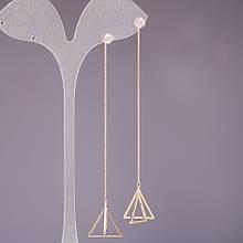 Серьги протяжки Пирамиды треугольники 18х17х90мм серия 925 цвет металла золото