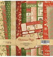 Набор бумаги 20 х 20 см. от Scrapmir Christmas Night 12 шт.