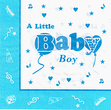 """Салфетки бумажные сервировочные,праздничные """" Baby Boy """" 20 шт/уп."""