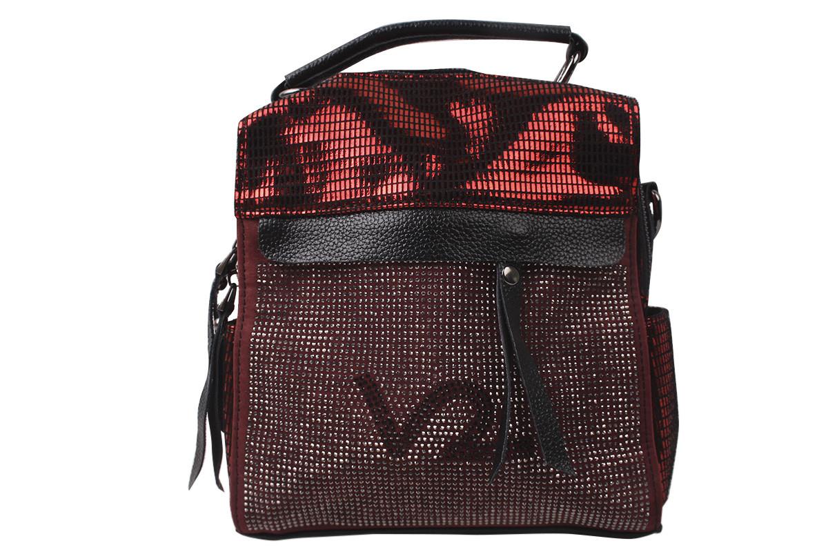 Сумка-рюкзак женская молодежная эко-замша, цвет бордо
