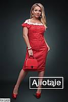 Красивое приталенное платье по фигуре с дорогим кружевом размеры норма арт 348