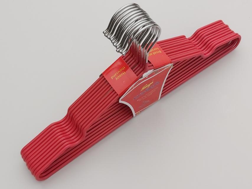 Плечики металлические в силиконовом покрытии темно-розового цвета, 40 см,10 штук в упаковке