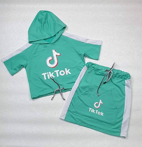 Комплект топ с капюшоном и юбка для девочки Tik Tok р. 122-134, фото 2
