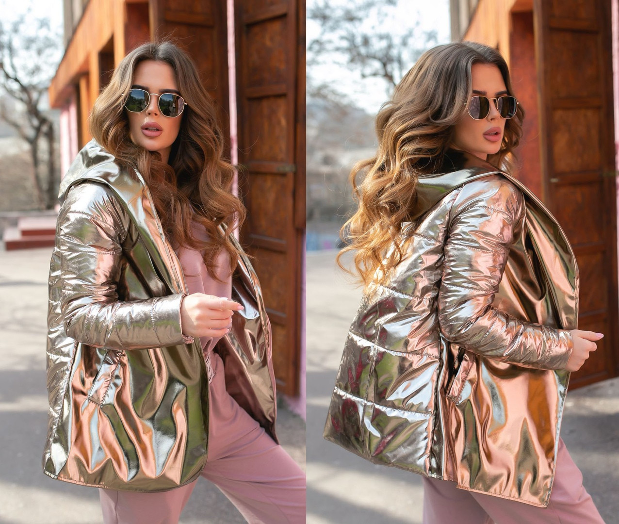 Куртка женская весна-осень с поясом плащевка+кожа
