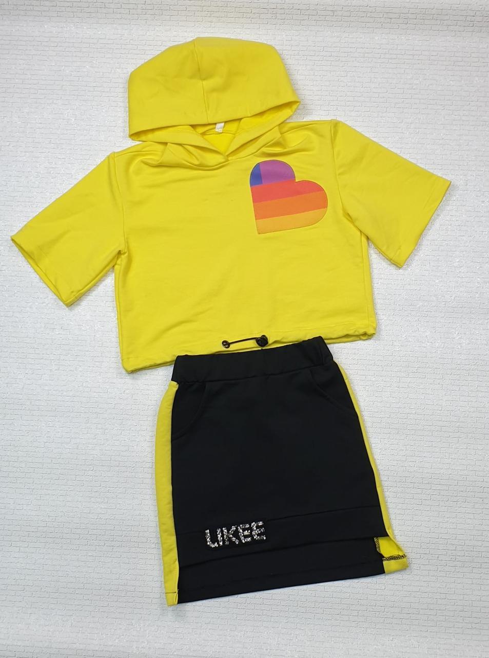 Комплект топ с капюшоном и юбка для девочки Likee р. 128-152