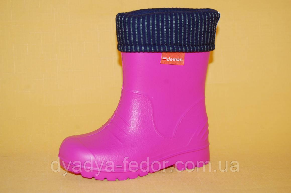 Детские Резиновые сапоги Demar Польша 03100 Для девочек Розовый размеры 20_36