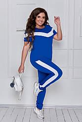 Женский спортивный костюм летний штаны+футболка для полных