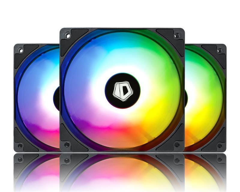 Вентилятор ID-Cooling XF-12025-ARGB-TRIO (3pcs Pack), 120х120х25мм, 4-pin PWM, чорний c білим
