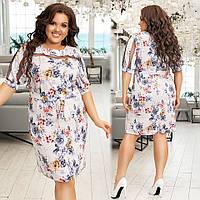 Женский сарафан летнее нежное платье цветочный принт короткий рукав размер: 48-50,52-54,56-58,60-62