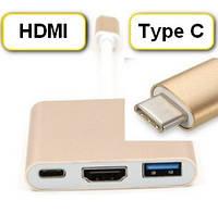Переходник с  TYPE-C НА USB 3.1 + HDMI + TYPE-C гнездоotg  MACBOOK