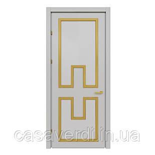 Межкомнатная дверь Casa Verdi Liga 1 из ольхи серая с желтыми вставками