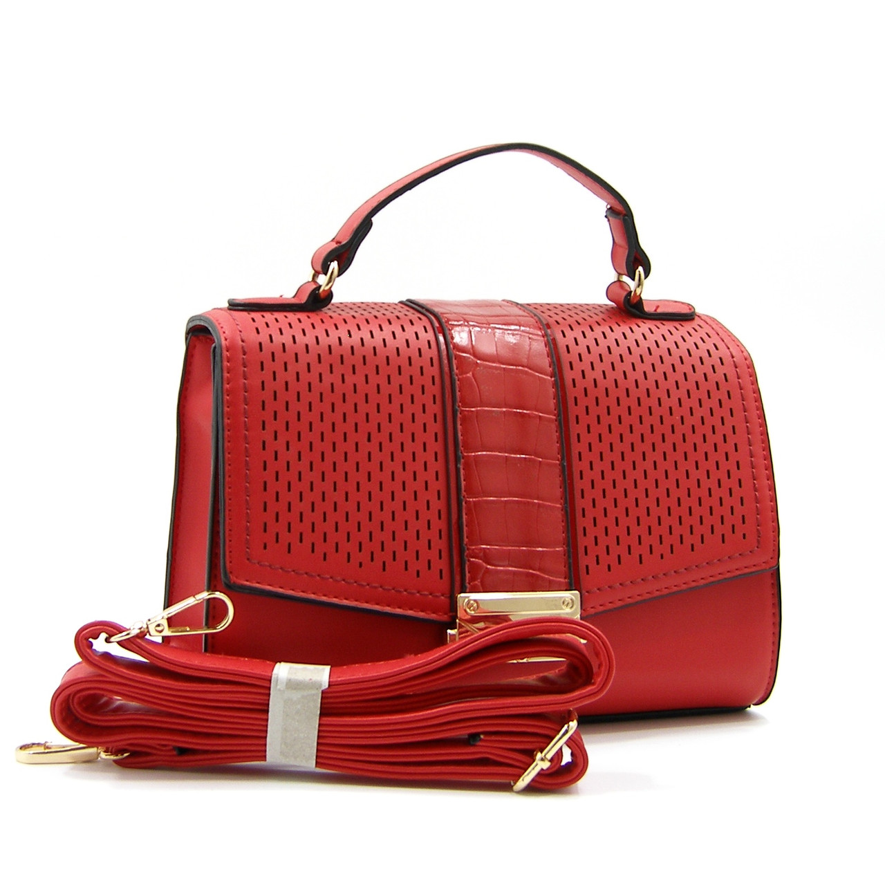 Женская сумочка кросс боди  из эко-кожи красная