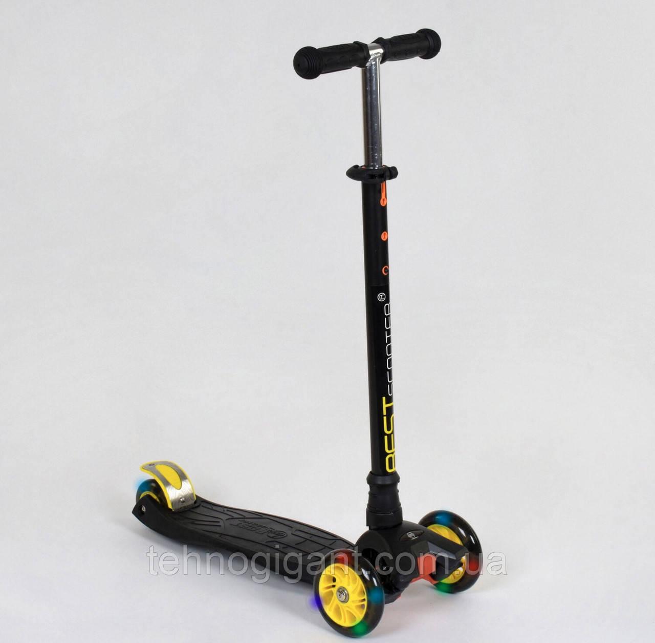 Самокат трехколесный со светящимися колесами черный-желтый Best Scooter MAXI, 4 колеса, трубка руля алюминий