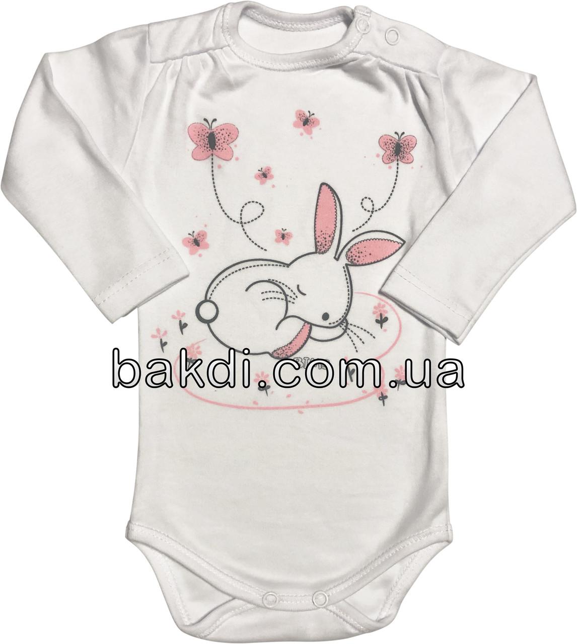 Детское боди рост 74 6-9 мес трикотажное интерлок белое на девочку бодик с длинным рукавом для новорожденных малышей Б866