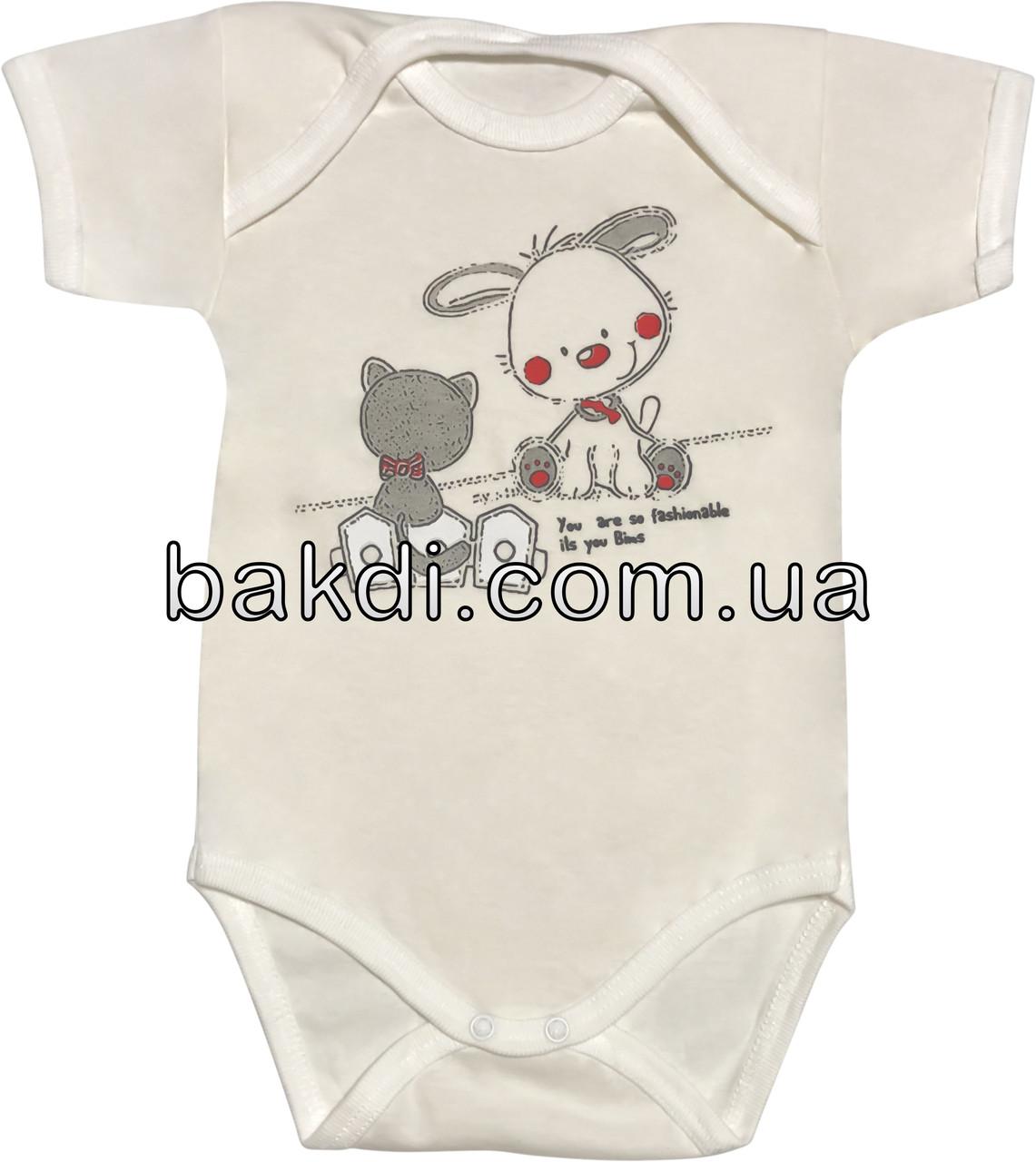 Дитяче літнє тонке боді ріст 80 9-12 міс бавовна кулір молочний бодік на хлопчика дівчинку з коротким рукавом