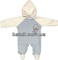 Детский человечек рост 62 2-3 мес капитон голубой на мальчика слип с капюшоном для новорожденных малышей А006
