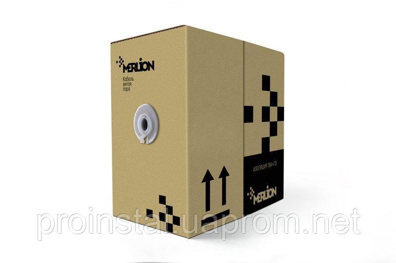 Кабель КНПЭп FTP 4p 24 AWG, Ritar, (CCA), изоляция ПЭ, экран для нар. работ с проволкой, 305м катушка, Black, Corton BOX (450x45