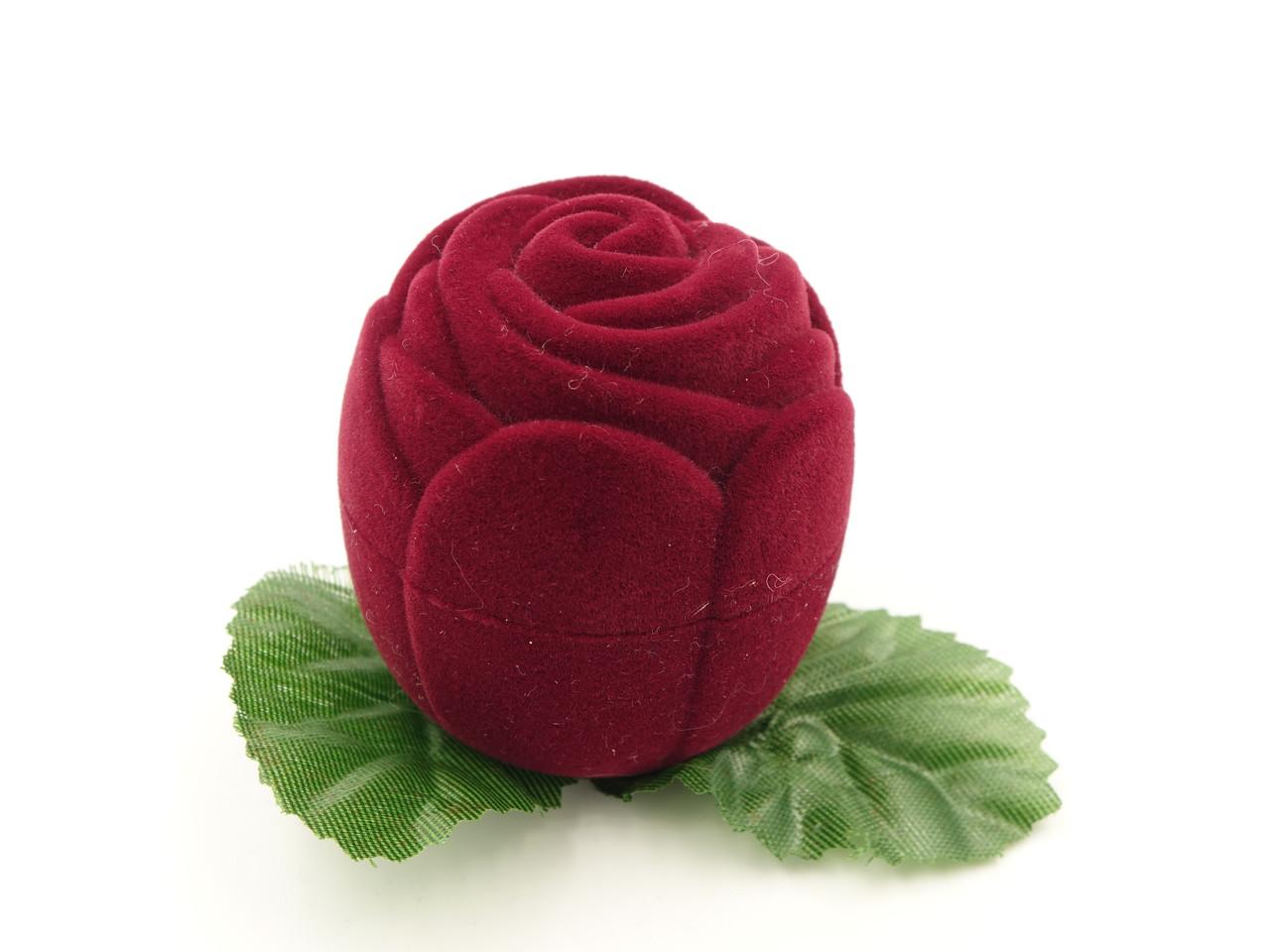 """Футляр для кольца """"Роза маленькая"""" бордо"""