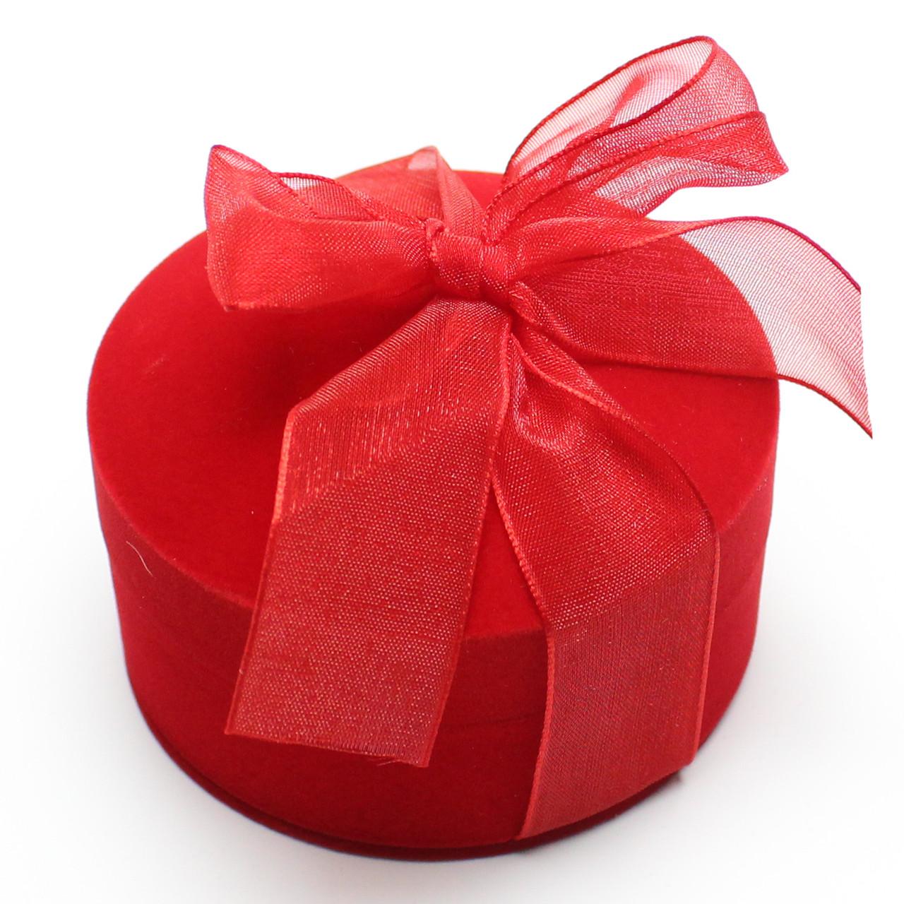 Футляр для кольца,серьги,обручальные кольца Круг с бантом красный