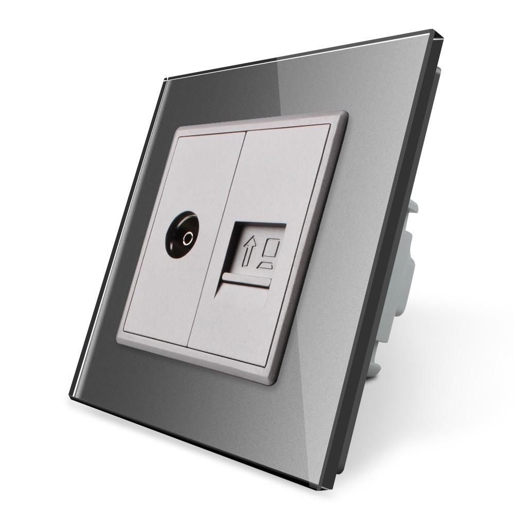 Компьютерная розетка RJ-45 ТВ розетка Livolo серый стекло (VL-C791VC-15)