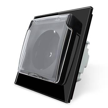 Розетка с крышкой IP44 Livolo черный стекло (VL-C7C1EUWF-12)