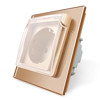 Розетка с крышкой IP44 Livolo золото стекло (VL-C7C1EUWF-13)