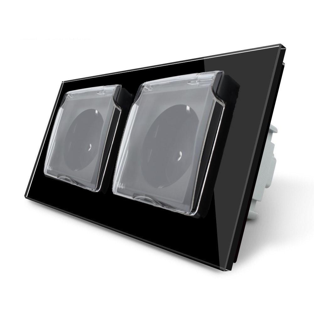 Розетка двойная с крышкой IP44 Livolo черный стекло (VL-C7C2EUWF-12)