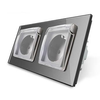 Розетка двойная с крышкой IP44 Livolo серый стекло (VL-C7C2EUWF-15)