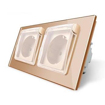 Розетка двойная с крышкой IP44 Livolo золото стекло (VL-C7C2EUWF-13)