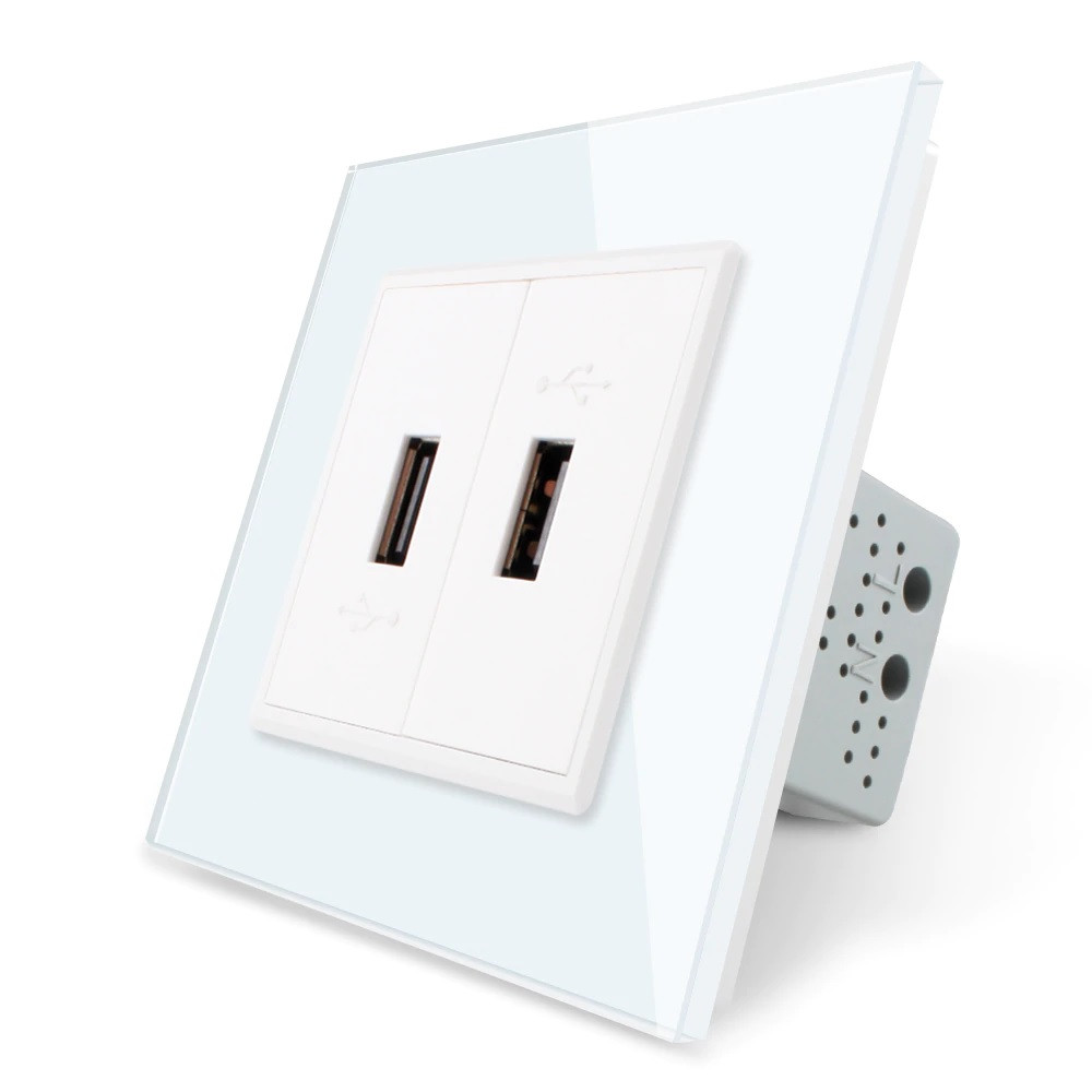 Розетка два USB с блоком питания 2.1А 5V Livolo белый стекло (VL-C792U-11)