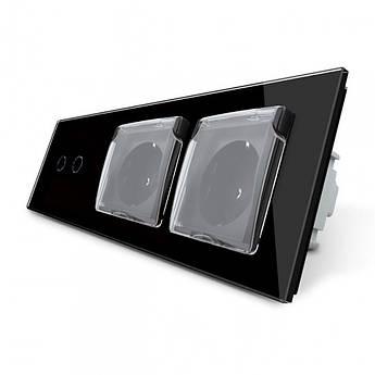 Сенсорный выключатель 2 канала Двойная розетка с крышкой IP44 Livolo черный стекло (VL-C702/C7C2EUWF-12)