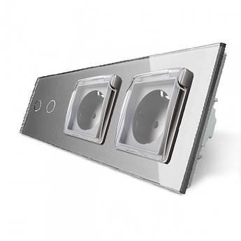 Сенсорный выключатель 2 канала Двойная розетка с крышкой IP44 Livolo серый стекло (VL-C702/C7C2EUWF-15)